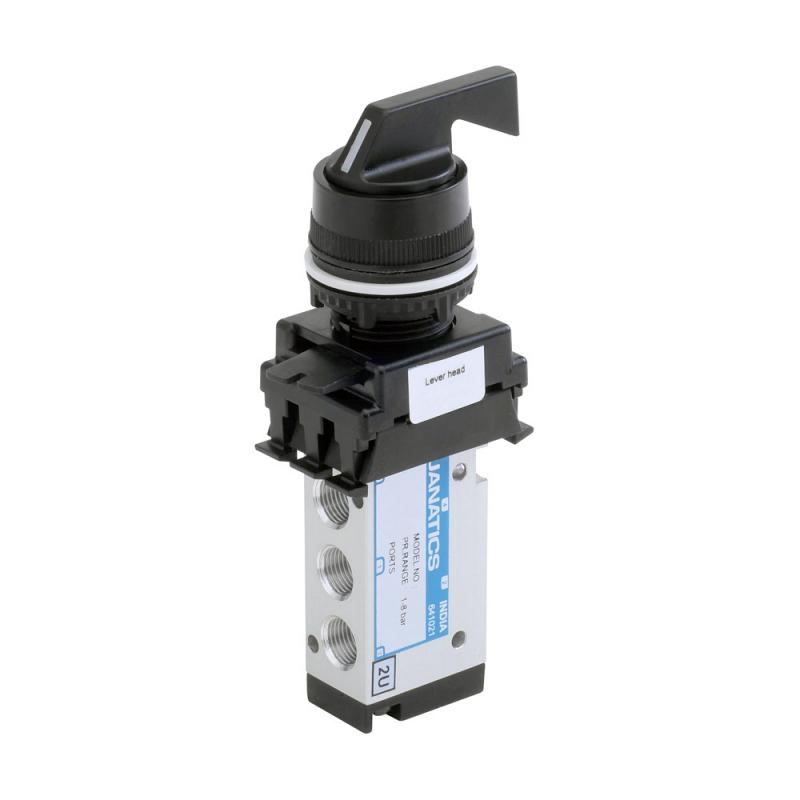 DP242P70-LH3A , Janatics , M5,3/2 NC valve (DP) with Actuator(Lever head-Blac , Poppet , 3/2 Normally closed , Lever Head ( Black) , Lever Head Detent , M5