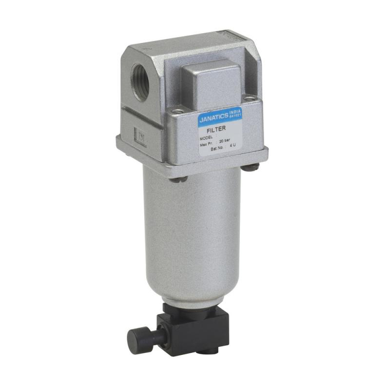 F13612-MM,Janatics,Filter-1/4 (25Micron)Metal bowl,M.drain,BSP,Metal,Manual Drain