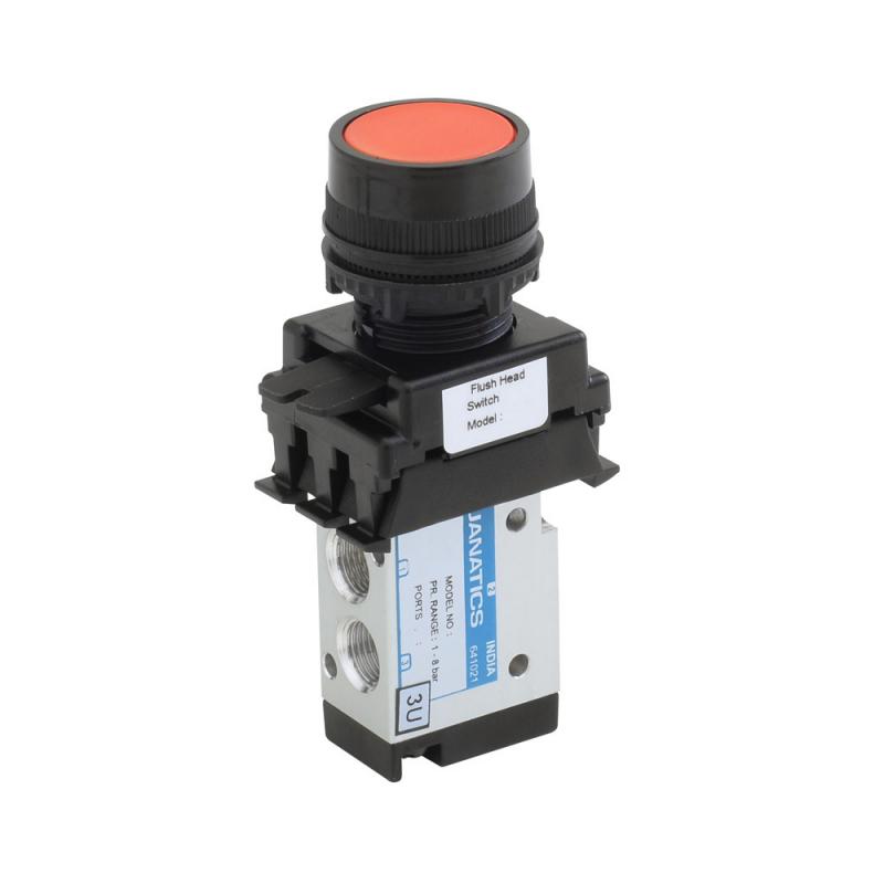 DS244P60-FH2A , Janatics , 1/8 -3/2 NC valve with switch (Flush head-Green) , Spool , 3/2 Normally closed , Flush Head (Green) , Spring Return , 1/8