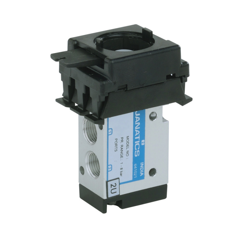 DS234P60 , Janatics , 1/8 -3/2 NO Valve assy with Row clip , Spool , 3/2 Normally open , Stem Actuated , Spring Return , 1/8