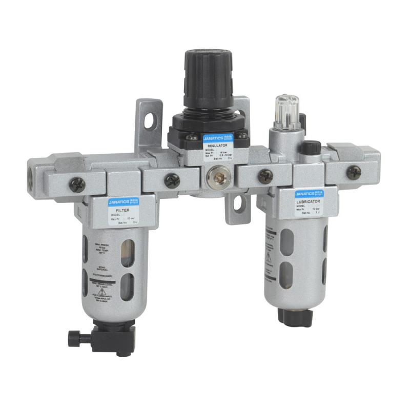 FRLM156334,Janatics,Modular,FRLM-1/2 (40Micron,10bar),Filter Regulator Lubricator Modular,Polycarbonate,Manual Drain,0.5 - 10 bar