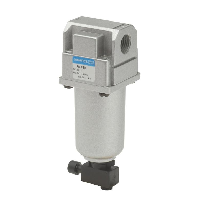 F13613-MM,Janatics,Filter-1/4 (40Micron)Metal bowl,M.drain,BSP,Metal,Manual Drain