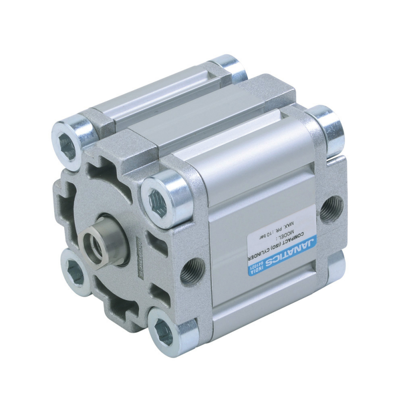 A64080010O,Janatics,Compact Cylinders,DA 80 x 10 Compact(ISO) Cyl. Basic,Double acting,Elastomer  end Cushioning,Non Magnetic,Female Thread