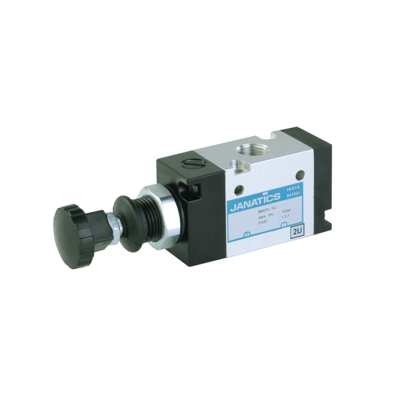 DS237PD63,Janatics,Manual and Mechanical Valve,1/2 -3/2 NO Push Pull detent valve,Spool,3/2 Normally open, 1/2