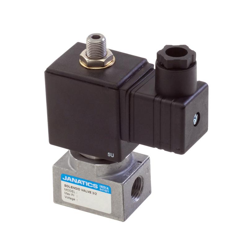 E14612-AT0R0 , Janatics , Sol.Valve 1/4 3/2 NC,10bar,220V AC (DA),LED Connector,w/o pr.ckt.(R) , Direct Acting Valve , 3/2  Normally closed , 220V 50 Hz , 2 NW and 0-10 bar