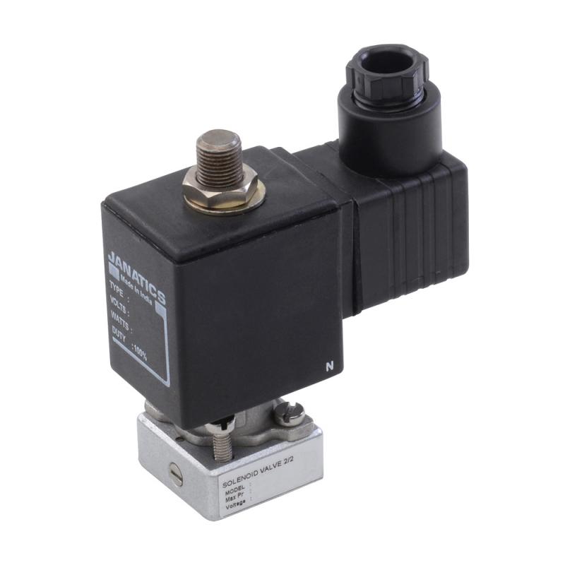 E24002A , Janatics , SOL.VALVE 3/2 NC,10bar,220V AC(GANG MOUNTING) , Direct Acting Valve , 3/2  Normally closed , 220V 50 Hz , 2 NW and 0-10 bar