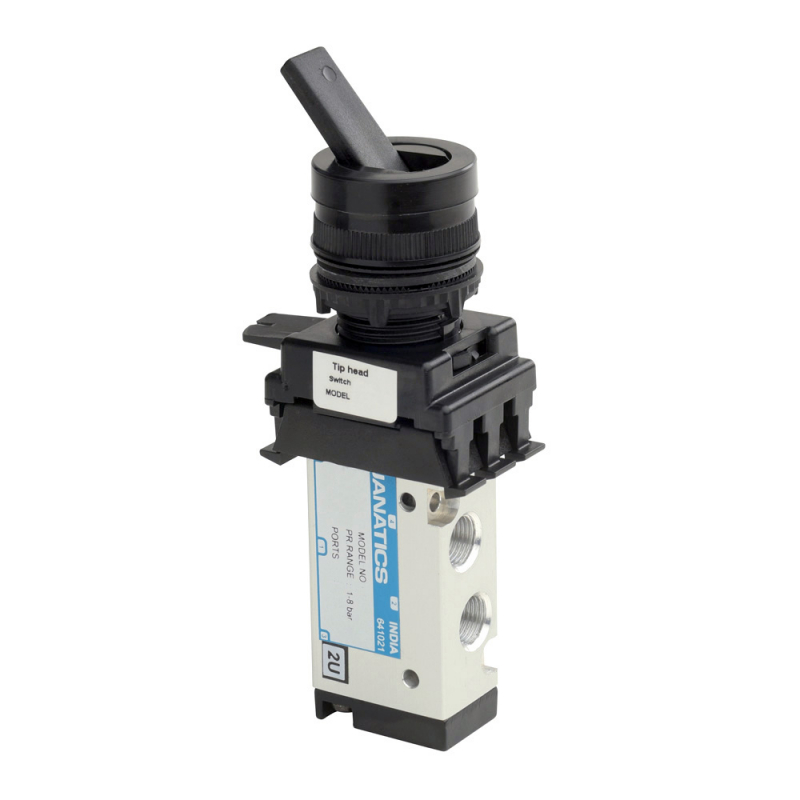 DS254P60-TH3A , Janatics , 1/8 -5/2 valve with switch (Tip head-Black) , Spool , 5 Port 2 Position , Tip Head (Black) , Tip Head detent , 1/8