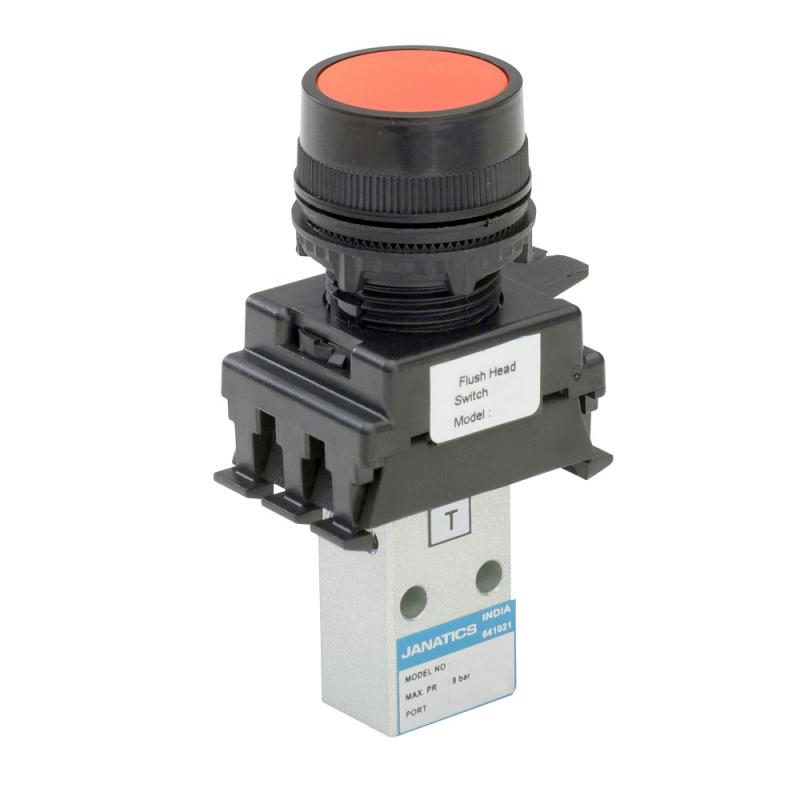 DP242P70-FH2A , Janatics , M5,3/2 NC valve (DP) with Actuator(Flush head-Green) , Poppet , 3/2 Normally closed , Flush Head (Green) , Spring Return , M5